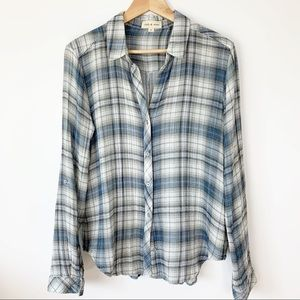 Cloth and Stone plaid button front medium